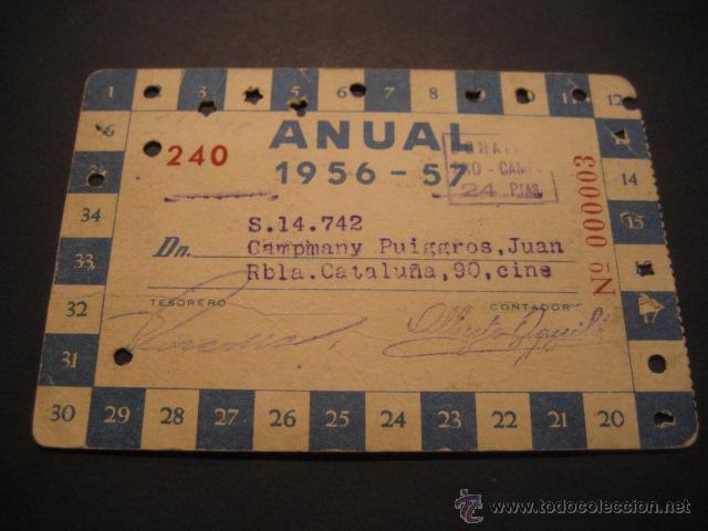 Coleccionismo deportivo: CARNET FUTBOL R. C. D. ESPAÑOL TEMPORADA 1956 - 57 ANUAL - Foto 2 - 54996132