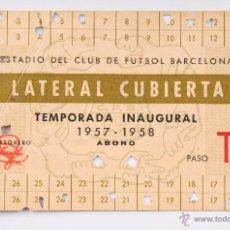 Coleccionismo deportivo: NET SOCIO ESTADIO DEL CLUB DE FUTBOL BARCELONA - TEMPORADA INAGURAL 1957-1958. Lote 55042869