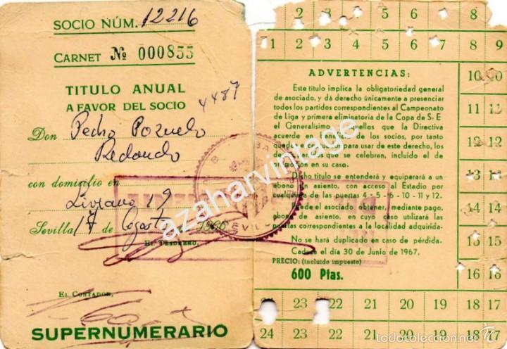 Coleccionismo deportivo: carnet de socio .-temporada 1966-67 del real betis balompie. - Foto 2 - 55133039