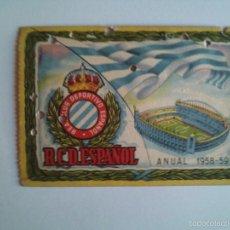 Coleccionismo deportivo: ESPANYOL - CARNET DE SOCIO DEL R.C.D. ESPAÑOL TEMPORADA 1958-59 - ANUAL - FOTO DORSO -. Lote 55810611