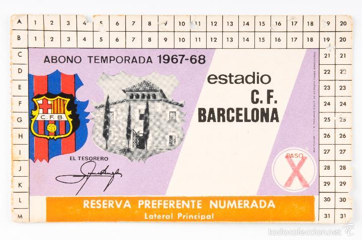 CARNET FUTBOL ESTADIO C.F.BARCELONA -ABONO TEMPORADA 1967-68- LATERAL PRINCIPAL (Coleccionismo Deportivo - Documentos de Deportes - Carnet de Socios)