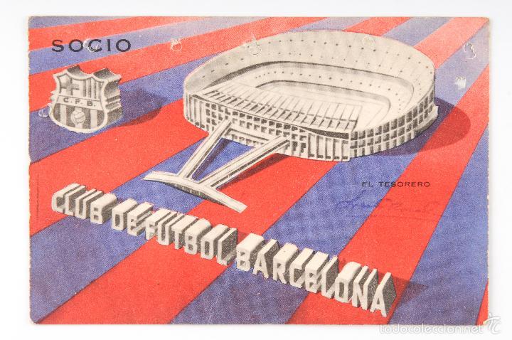 CARNET DE SOCIO CLUB DE FUTBOL BARCELONA -1ER TRIMESTRE 1963 -Nº SOCIO 44526 (Coleccionismo Deportivo - Documentos de Deportes - Carnet de Socios)