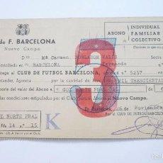 Collectionnisme sportif: CF BARCELONA (BARÇA). ABONO INDIVIDUAL PARA EL NUEVO CAMPO. GOL NORTE. NOVIEMBRE DE 1957. Lote 58125308