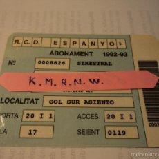 Coleccionismo deportivo: ABONAMENT SEMESTRAL REAL CLUB DEPORTIVO ESPANYOL AÑO 1992/93 REVERSO IMAGEN DEL CAMPO EN SARRIA. Lote 58241932