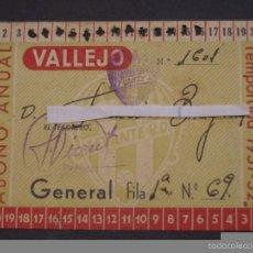 Coleccionismo deportivo: PASE ABONO ANUAL ESTADIO VALLEJO LEVANTE U.D. TEMPORADA 1951-52. Lote 59618619