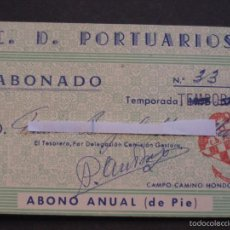 Coleccionismo deportivo: PASE ABONO ANUAL CAMPO CAMINO HONDO CD PORTUARIOS TEMPORADA 1959-60. Lote 59618787