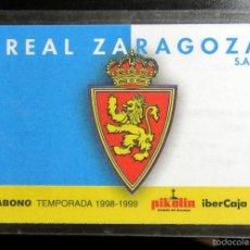 Coleccionismo deportivo: CARNET ABONO CARNÉ REAL ZARAGOZA LA ROMAREDA LIGA 1998-1999 SPAIN LEAGUE FOOTBALL PASS. Lote 59721371