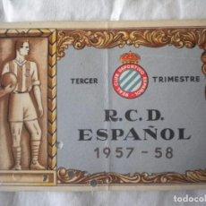 Coleccionismo deportivo: CARNET DE SOCIO DEL REAL CLUB ESPAÑOL 3ER TRIMESTRE 1957-1958.. Lote 61770628