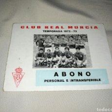Coleccionismo deportivo: ABONO DEL REAL MURCIA TEMPORADA 1972 - 73 PERTENECIENTE AL EXCMO. SR. GOBERNADOR MILITAR MURCIA. Lote 65817834