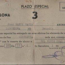 Collectionnisme sportif: ESPECIE DE CARNET C-FUTBOL BARCELONA PLAZO ESPECIAL 1957. Lote 66874810