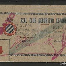 Coleccionismo deportivo: REAL CLUB DEPORTIVO ESPAÑOL -ABONO TRIBUNA - ROTA -PEGADA CON CINTA ADHESIVA- VER FOTOS - (V-8191). Lote 72901823