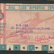 Coleccionismo deportivo: REAL CLUB DEPORTIVO ESPAÑOL-CARNET - ROTO -PEGADO CON CINTA ADHESIVA- VER FOTOS - (V-8194). Lote 72902695
