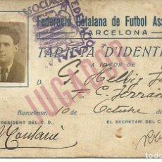 Coleccionismo deportivo: (F-170144)TARJETA DE D´IDENTITAT G.HELBIG,F.C.TERRASSA,1925-26.FEDERACIO CATALANA FUTBOL ASSOCIACIO. Lote 74718023