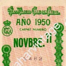 Coleccionismo deportivo: CUPON CARNET DE SOCIO REAL MADRID,C.F. 1950. Lote 75973419