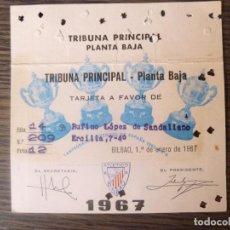 Coleccionismo deportivo: TARJETA DE SOCIO ATHLETIC BILBAO AÑO 1967 CAMPO SAN MAMES. Lote 62412876