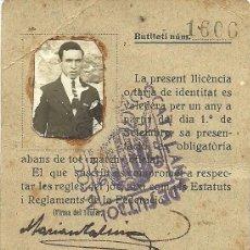 Coleccionismo deportivo: (F-170387)LICENCIA DE JUGADOR DEL CLUB FUTBOL PUIGREIG TEMPORADA 1925-26. Lote 82011716
