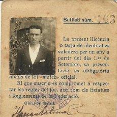 Coleccionismo deportivo: (F-170388)LICENCIA DE JUGADOR CLUB FUTBOL PUIGREIG TEMPORADA 1926-27. Lote 82011832