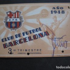 Coleccionismo deportivo: CLUB FUTBOL BARCELONA CARNET - 3 TRIMESTRE AÑO 1948 -VER FOTOS - (V-11.012). Lote 86570576