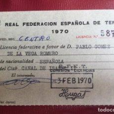 Coleccionismo deportivo: LICENCIA REAL FEDERACION ESPAÑOLA DE TENIS 1970 CLUB CANAL ISABEL II CENTRO 7X11. Lote 88883396