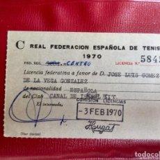 Coleccionismo deportivo: LICENCIA REAL FEDERACION ESPAÑOLA DE TENIS 1970 CLUB CANAL ISABEL II CENTRO 7X11. Lote 88883460