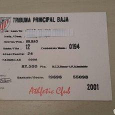 Coleccionismo deportivo: CARNET DEL ATHLETIC BILBAO. AÑO 2001.. Lote 89739330