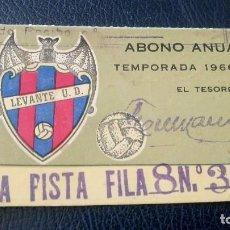 Coleccionismo deportivo: LEVANTE U.D. ANTIGUO ABONO. PASE ANUAL. TEMPORADA 1966-67. FUTBOL. . Lote 91942475