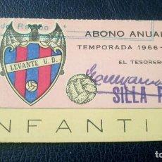 Coleccionismo deportivo: LEVANTE U.D. ANTIGUO ABONO INFANTIL. PASE ANUAL. TEMPORADA 1966-67. FUTBOL. . Lote 91942965