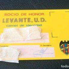 Coleccionismo deportivo: LEVANTE U.D. ABONO. SOCIO DE HONOR. TEMPORADA. FUTBOL. . Lote 91943365