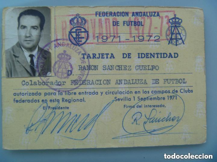 CARNET DE COLABORADOR DE LA FEDERACION ANDALUZA DE FUTBOL. 1971-1972 . SEVILLA, 1971 (Coleccionismo Deportivo - Documentos de Deportes - Carnet de Socios)