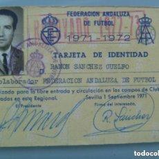 Coleccionismo deportivo: CARNET DE COLABORADOR DE LA FEDERACION ANDALUZA DE FUTBOL. 1971-1972 . SEVILLA, 1971. Lote 95615767