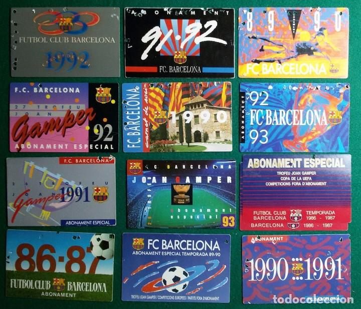 Coleccionismo deportivo: FUNDA CARNET FUTBOL F.C. BARCELONA BARÇA CON 13 CARNET DE SOCIO Y ABONOS - Foto 2 - 97450403