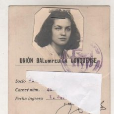 Coleccionismo deportivo: UNION BALOMPIE CONQUENSE. CUENCA SPORTING CLUB. FUTBOL. CARNET DE SOCIO FEMENINO. 1946 PAGO CUOTA.. Lote 98126323