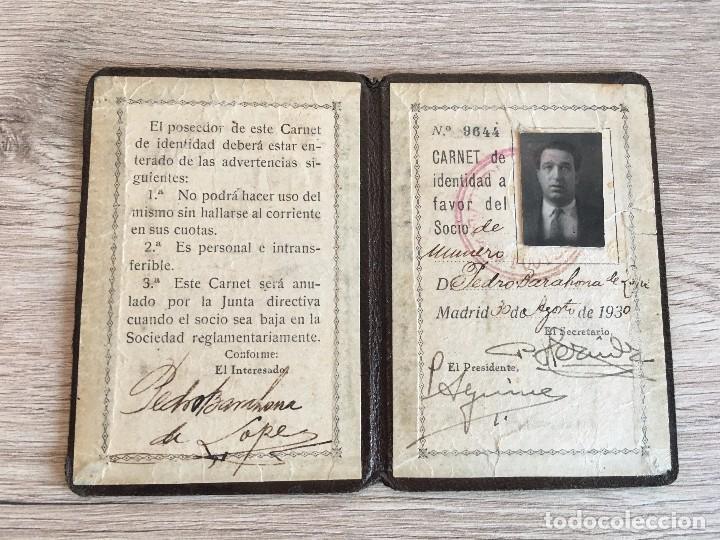 R2964 CARNET SOCIO ABONADO REAL MADRID AÑO 1930 SOCIO NUMERO 9644 PEDRO BARAHONA DE LOPEZ (Coleccionismo Deportivo - Documentos de Deportes - Carnet de Socios)