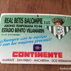 Coleccionismo deportivo: R3048 CARNET SOCIO ABONADO REAL BETIS BALOMPIE TEMPORADA 1993 1994. Lote 98816115