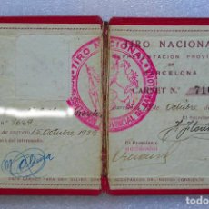 Coleccionismo deportivo: CARNET DE TIRO NACIONAL. REPRESENTACIÓN PROVINCIAL DE BARCELONA. 1932, ÉPOCA REPUBLICANA.. Lote 99456807