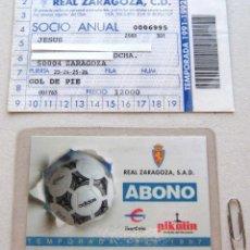 Coleccionismo deportivo: 2 CARNET ABONO SOCIO REAL ZARAGOZA 91-92 Y 96-97 BUEN ESTADO PARA ESTADIO LA ROMAREDA. Lote 104762775