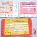 Coleccionismo deportivo: 3 CARNET ABONO SOCIO REAL MURCIA AÑOS 70, 71 Y 75-76 PARA ESTADIO LA CONDOMINA. Lote 104762911