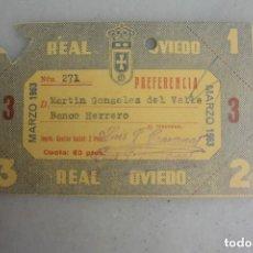 Coleccionismo deportivo: CARNET SOCIO FUTBOL REAL OVIEDO MARZO 1963. Lote 109561831