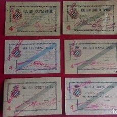 Coleccionismo deportivo: CS-1.- REAL CLUB DEPORTIVO ESPAÑOL, LOTE DE 6 CARNETS , TRIBUNA LATERAL , AÑOS 40, VARIOS MESES . Lote 110372883
