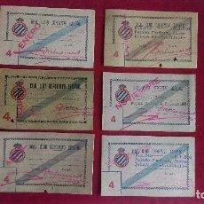 Coleccionismo deportivo: CS-1.- REAL CLUB DEPORTIVO ESPAÑOL, LOTE DE 6 CARNETS , TRIBUNA LATERAL , AÑOS 40, VARIOS MESES. Lote 110374119