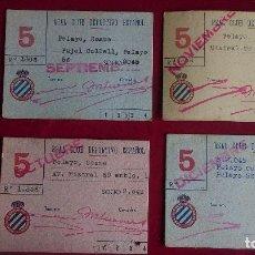 Coleccionismo deportivo: CS-4.- REAL CLUB DEPORTIVO ESPAÑOL, LOTE DE 4 CARNETS , SOCIO , AÑOS 40, VARIOS MESES. Lote 110375467