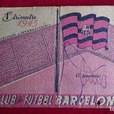 Coleccionismo deportivo: CS-11.- CLUB DE FUTBOL BARCELONA.- CARNET DE SOCIO AÑO -1943.- 1º TRIMESTRE , SEÑALES DE USO. Lote 110379911