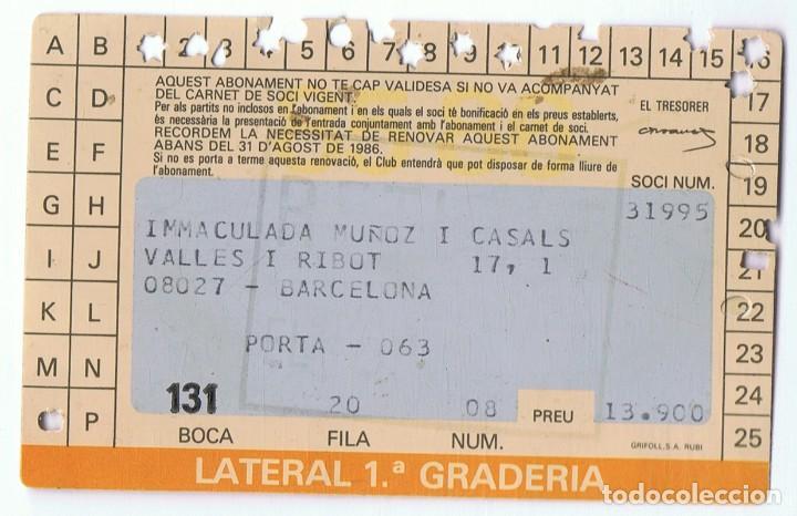 Coleccionismo deportivo: CARNET DE SOCIO C.F. BARCELONA TEMPORADA 1985 - 1986 - Foto 2 - 111398299