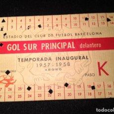 Coleccionismo deportivo: CAJA AZUL CARNET TEMPORADA INAUGURAL 1957-1958 DEL CAM NOU FUTBOL CLUB FC BARCELONA F.C BARÇA CF . Lote 112181759