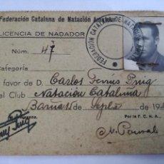 Coleccionismo deportivo: ANTIGUO CARNET LICENCIA NADADOR FEDERACION CATALANA DE NATACION AMATEUR AÑO 1939. Lote 113028135