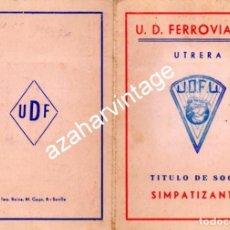 Coleccionismo deportivo: UTRERA, SEVILLA, 1959, CARNET SOCIO U.D. FERROVIARIA, MUY RARO. Lote 114506443