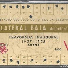 Coleccionismo deportivo: ESTADIO DEL CLUB DE FUTBOL BARCELONA , TEMPORADA INAUGURAL 1957 - 1958 LATERAL BAJA DELANTERA.. Lote 116627443