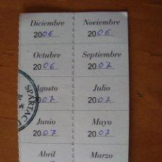 Coleccionismo deportivo: CUPONES SOCIO SPARTAC DE MANOTERAS 2006. Lote 117583663