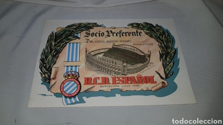 TITULO DE SOCIO PREFERENTE R.C.D. ESPAÑOL . BARCELONA 1958 (Coleccionismo Deportivo - Documentos de Deportes - Carnet de Socios)