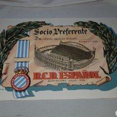 Coleccionismo deportivo: TITULO DE SOCIO PREFERENTE R.C.D. ESPAÑOL . BARCELONA 1958. Lote 120279398